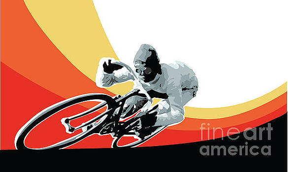 Sassan Filsoof - Vintage cyclist with colored swoosh poster print Speed demon