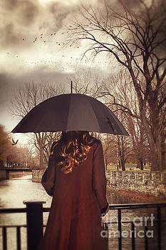 Sandra Cunningham - Woman with umbrella standing on bridge canal in Lachine Montreal