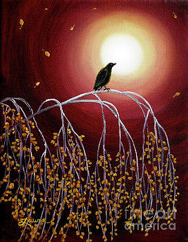 Laura Iverson - Black Crow on White Birch Branches