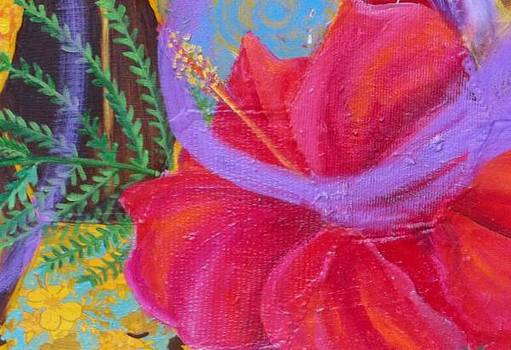 Anne Cameron Cutri - Hibiscus detail of Beehive painting