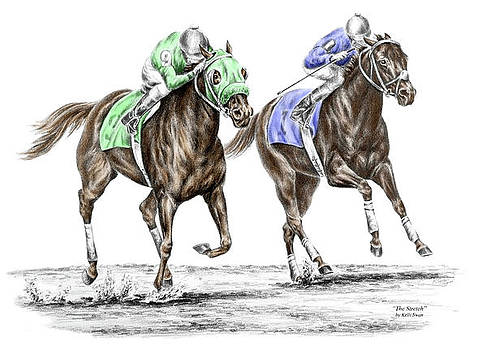 kelli swan the stretch tb horse racing print color tinted