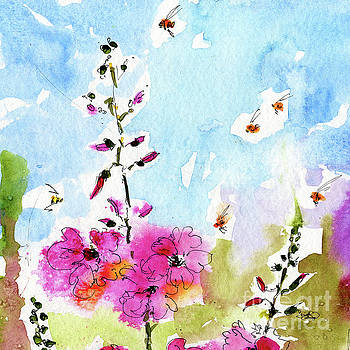 Ginette Callaway - Pink Lavatera Floral Painting 1