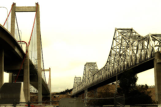 Wingsdomain Art and Photography - The Two Carquinez Bridges At Crockett and Vallejo California . aka Alfred Zampa Memorial Bridge . 7D8830