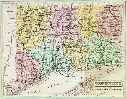 American School - Antique Map of Connecticut