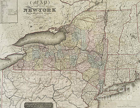 David H Burr - Antique Map of the state of New York and the surrounding country