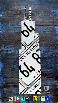 Design Turnpike - Chicago Windy City Harris Sears Tower License Plate Art