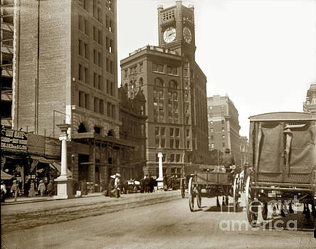 California Views Mr Pat Hathaway Archives - Chronicle building with clock and  Mutual Bank Building on Market St. 1902
