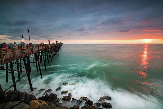 Larry Marshall - Colorful Sunset at the Oceanside Pier