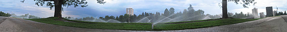 Jeff Schomay - Denver Cheesman Park with Sprinklers Wide Panorama