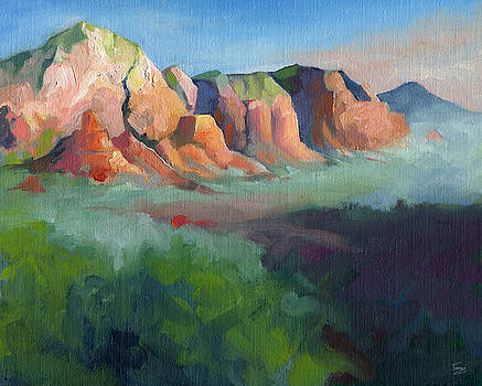 Catherine Twomey - Desert Afternoon Mountains Sky and Trees