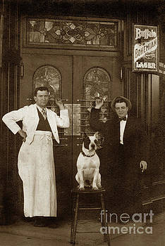 California Views Mr Pat Hathaway Archives - Dog on a bar Stool with bartender and an other man in front of a