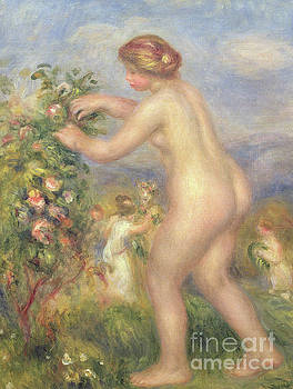 Pierre Auguste Renoir - Female nude picking flowers