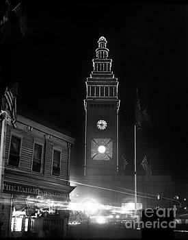 California Views Mr Pat Hathaway Archives - Ferry building, The Fair Wind Saloon, San Francisco at night circa 1900