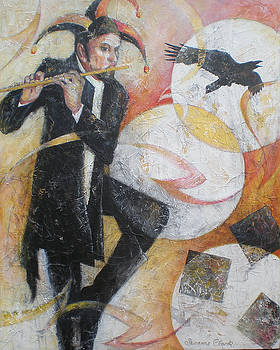 Susanne Clark - Flight of the Crow - Jester Playing a Flute