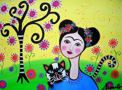 PRISTINE CARTERA TURKUS - FRIDA WITH HER CAT
