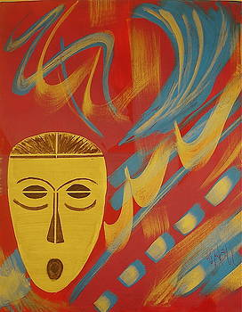 Sheila J Hall - Gold Mask on Red
