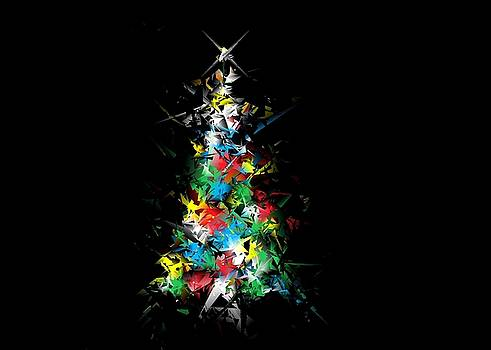 Ludwig Keck - Happy Holidays - Abstract Tree - horizontal