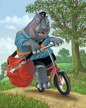 Martin Davey - hippo post man on cycle