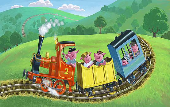 Martin Davey - little happy pigs on train journey