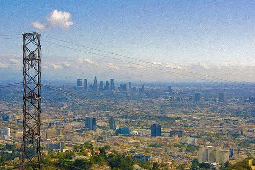 David Zanzinger - Los Angeles Skyline Between power lines