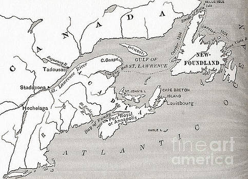 American School - Map of Acadia, 17th century colony of New France in Canada