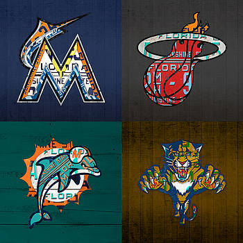 Design Turnpike - Miami Sports Fan Recycled Vintage Florida License Plate Art Marlins Heat Dolphins Panthers