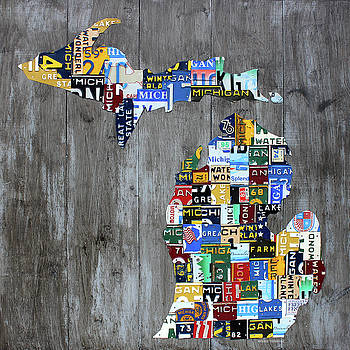 Design Turnpike - Michigan Counties Patchwork License Plate Art Recycled Vintage Map 2017 Edition