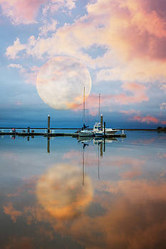 Debra and Dave Vanderlaan - Moonlit Evening Over the Harbor