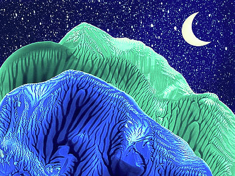 Amy Vangsgard - Mountains Moon Starry Night Abstract Landscape