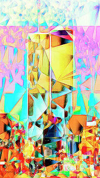 Wingsdomain Art and Photography - New York Skyline 911 Twin World Trade Center in Abstract Cubism 20170326