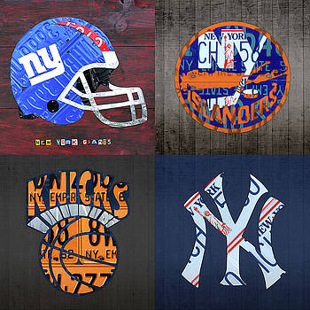 Design Turnpike - New York Sports Team License Plate Art Collage Giants Islanders Knicks Yankees