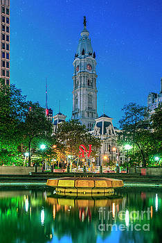 David Zanzinger - Philadelphia City Hall Lit at Night Beautiful