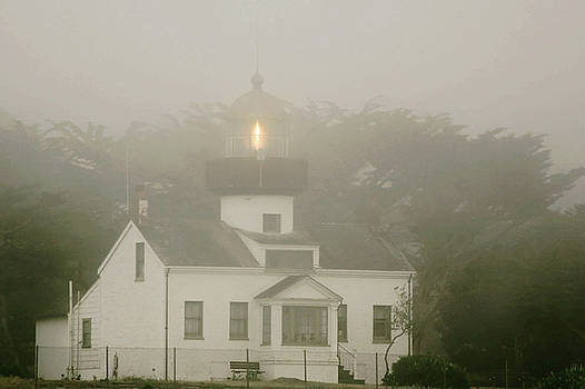 Christine Till - Point Pinos Lighthouse in a foggy night - Pacific Grove Monterey Central CA