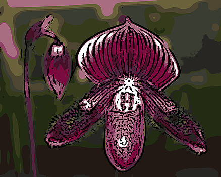 Ann Tracy - Purple Orchid Woodcut