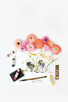 Susan Gary - Ranunculus with First Watercolor