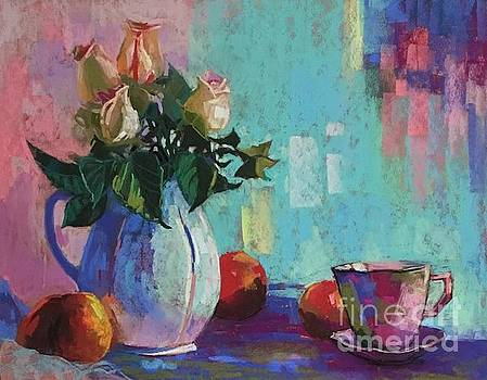 Celine  K Yong - Rose and peaches still life