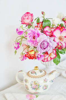 Susan Gary - Rose Bouquet and Vintage Teapot