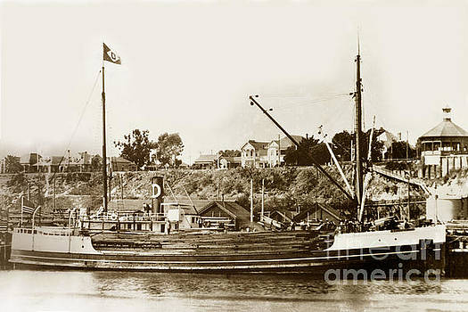 California Views Mr Pat Hathaway Archives - S. S. Tiverton built 1906 steam schooner being unloaded at S