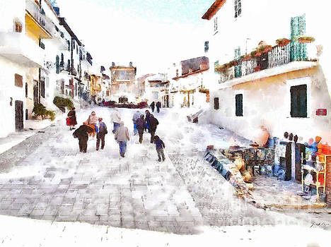 Giuseppe Cocco - San Felice Circeo foreshortening street with people