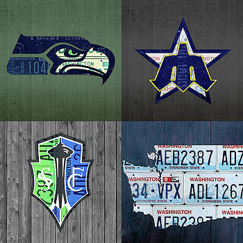 Design Turnpike - Seattle Sports Team License Plate Art Washington Map Seahawks Mariners Sounders