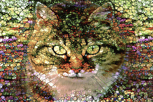 Peggy Collins - Stained Glass  Tabby Cat