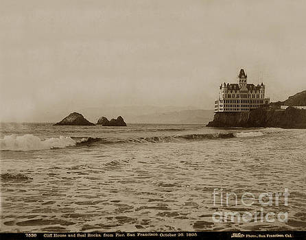 California Views Mr Pat Hathaway Archives - The  third Cliff House and Seal Rocks from Pier, San Francisco,  circa 1895