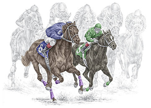kelli swan the thunder of hooves horse racing print color