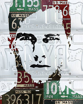 Design Turnpike - Tom Brady New England Patriots Massachusetts Recycled Vintage License Plate Portrait Original