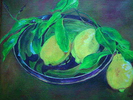 Virgilla Lammons - Vibrant still life painting - Decorative Bowl with Lemon Branch - Virgilla Art