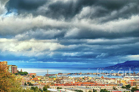 Silvia Ganora - View of Messina Strait Sicily with dramatic sky