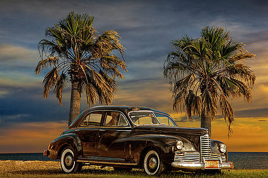 Randall Nyhof - Vintage Classic Automobile with Palm Trees at Sunrise