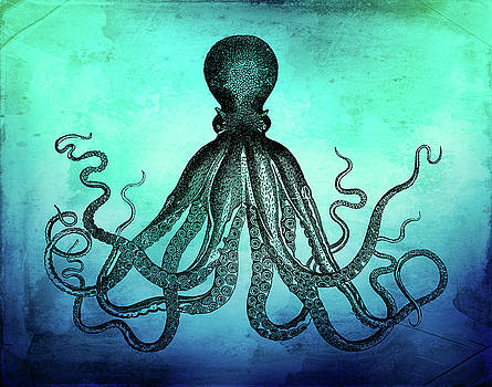 Peggy Collins - Vintage Octopus on Blue Green Watercolor