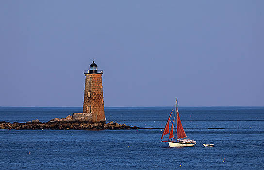 Juergen Roth - Whaleback Lighthouse and Sailboat