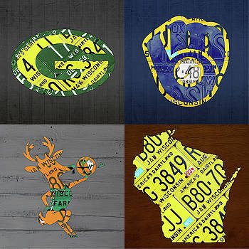 Design Turnpike - Wisconsin Sports Team License Plate Art Milwaukee Green Bay Plus Map Brewers Bucks Packers